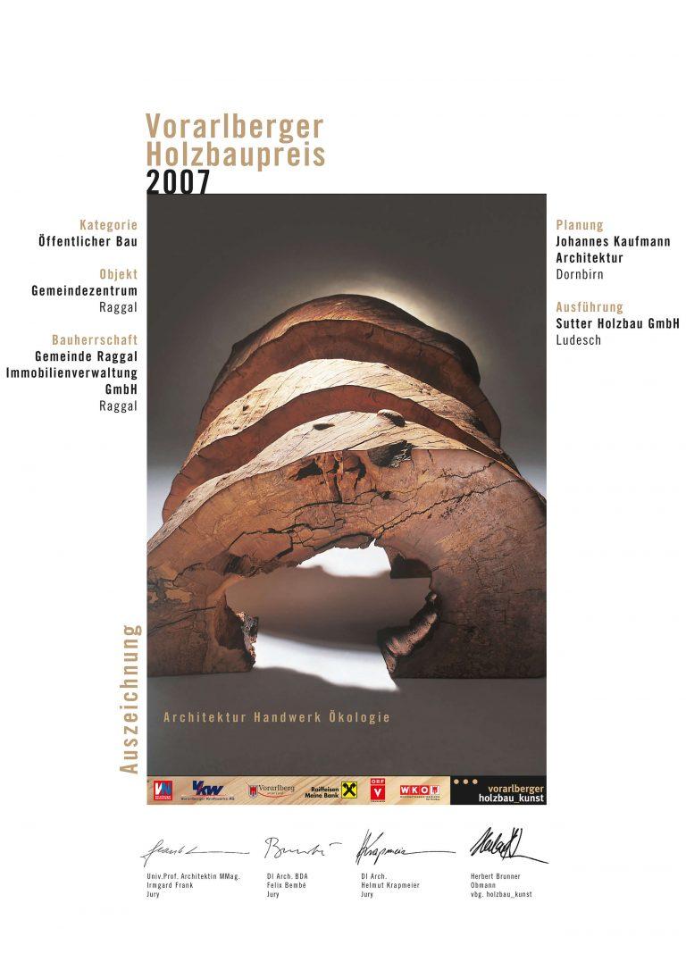 Holzbaupreis 2007 Gemeindezentrum Raggal